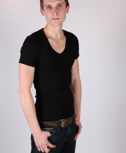 Heren T-shirt Diepe V-hals Zwart