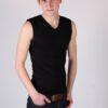 Heren T-shirt Mouwloos V-hals Zwart