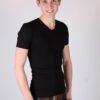 Heren T-shirt V-hals Zwart