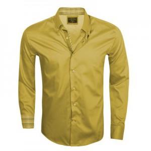 WAM Denim yellow/bruin 75186 – Slimflit Overhemd – Schitterend Italiaans Design
