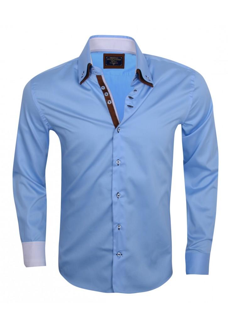 Overhemd Italiaans Design.Wam Denim Lblauw 75188 Slimflit Overhemd Schitterend Italiaans