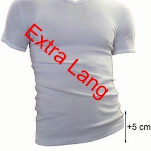 Beeren heren t-shirt korte mouw v-hals (extra lang) +5cm  wit en zwart