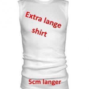 Beeren T-Shirt Mouwloos ronde hals wit Extra Lang (+5cm)