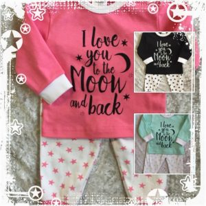"Beeren pyjama ""I love you to the moon and back (roze, mint en zwart)"