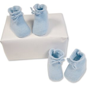 Baby Slofjes gebreid 0-3 mnd licht blauw