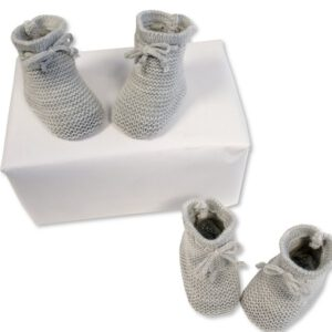 Baby Slofjes gebreid 0-3 mnd grijs