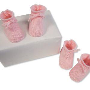 Baby Slofjes gebreid 0-3 mnd roze