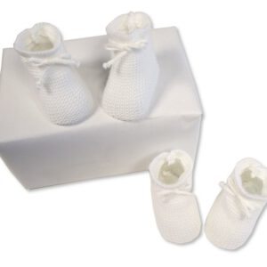 Baby Slofjes gebreid 0-3 mnd wit
