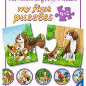 Puzzel My First Dierenfamilies op de boerderij: 9×2 stukjes (050727)