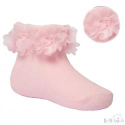 Baby sokjes met roezel, roze